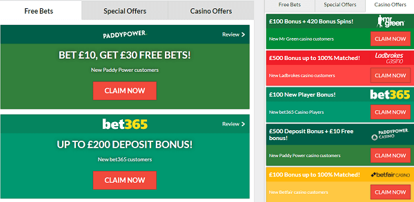 Free Bets At Offers