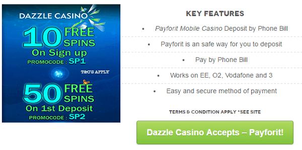 Dazzle Mobile Casino PayForit