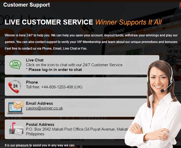 Winner Casino Support